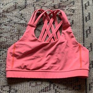 Cross back lululemon neon sports bra